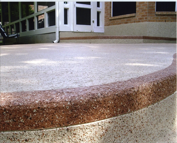 Decorative Concrete Patio with Classic Texture aggregate effects