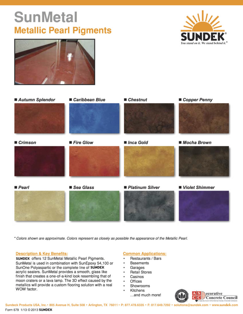 SunMetal Color Chart - For Metallic Epoxy Floors