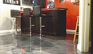 epoxy floor home bar